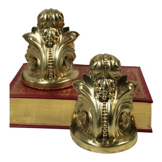 Vintage Victorian Hollywood Regency Metal Brass Paperweight Bookends - a Pair For Sale