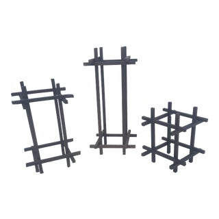 Set of 3- Brutalist Metal Bronze Stick Sculptural Objects For Sale