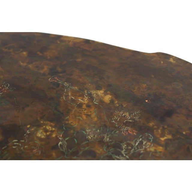 American Midcentury Patinaed Bronze Oval Shaped Coffee Table For Sale In New York - Image 6 of 7