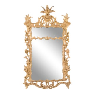18th Century Carved and Giltwood English Chippendale Mirror, Large Scale For Sale