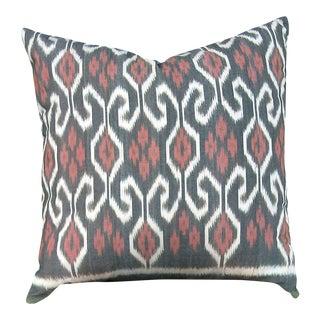 Handwoven Gray & Pink Ikat Pillow