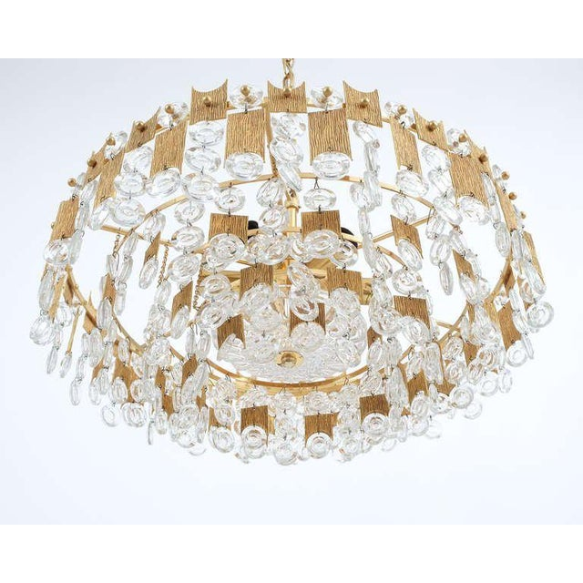 """1960s Delicate 20"""" Palwa Glass and Brass Chandelier, Lamp 1960 For Sale - Image 5 of 8"""