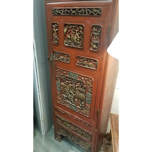 Chinese Chinese Carved, Painted, and Gilt Decorated Cabinet For Sale - Image 3 of 5