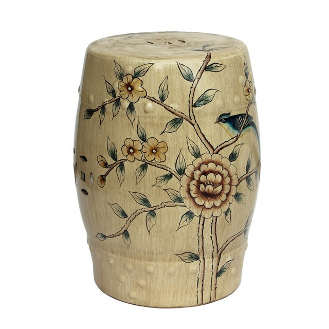 Handmade Beige Porcelain Bird Flower Round Stool Ottoman - Image 3 of 7