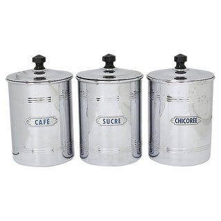 Mid-Century French Coffee Canisters, Set of 3 For Sale