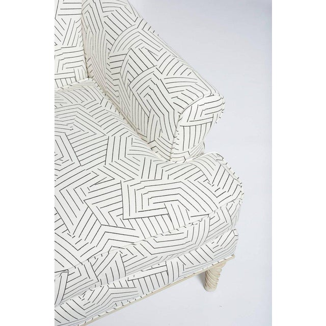 Early 21st Century Schumacher Jansen Deconstructed Stripe Maplewood-Legged Sock Arm Chair For Sale - Image 5 of 9