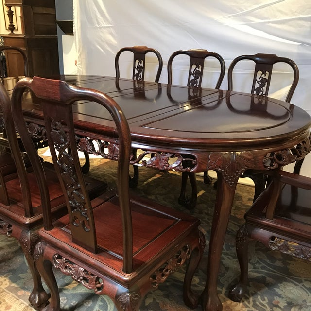 Ling Chi Rosewood Dining Table & 8 Chairs Set For Sale - Image 4 of 10