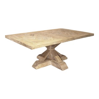 Parquet Top Pedestal Table From France in Whitewashed Oak For Sale