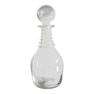 1980s Clear Glass Decanter Signed by Vandermark Merrit For Sale