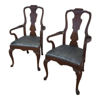 Henredon 18th Century Profile Dining Arm Chairs- A Pair For Sale