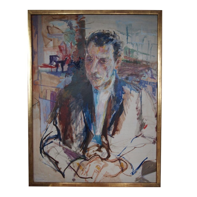 Original Herbert Beerman Mid-Century Modern Abstract Man In Suit Portrait Oil / Masonite Board Painting For Sale