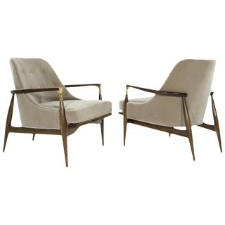 Pair of Modern Brass Accented Walnut Lounge Chairs, 1950s For Sale