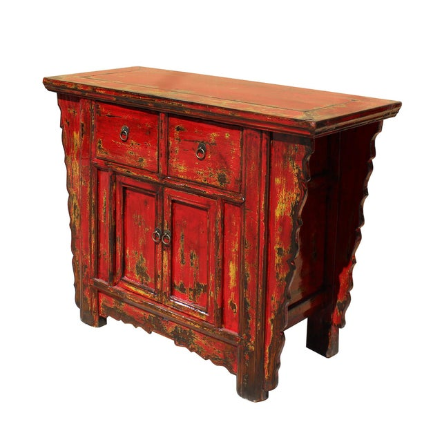 Chinese Rustic Rough Wood Distressed Red Side Table Cabinet For Sale - Image 4 of 9
