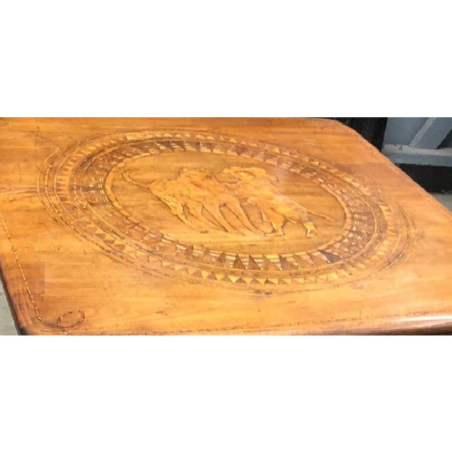 Antique 18th C English Marquetry Inlaid Dog Table