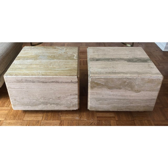 Italian Travertine Block Tables on Plinth Bases, 1970s For Sale - Image 10 of 10