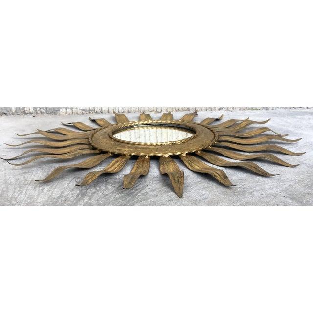 1960s Mid-Century Modern Gilt Iron Layered Leafed Flower Shaped Sunburst Mirror For Sale - Image 5 of 13