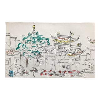 1980s Inga-Britta Mills Nanking Market Watercolor Painting For Sale