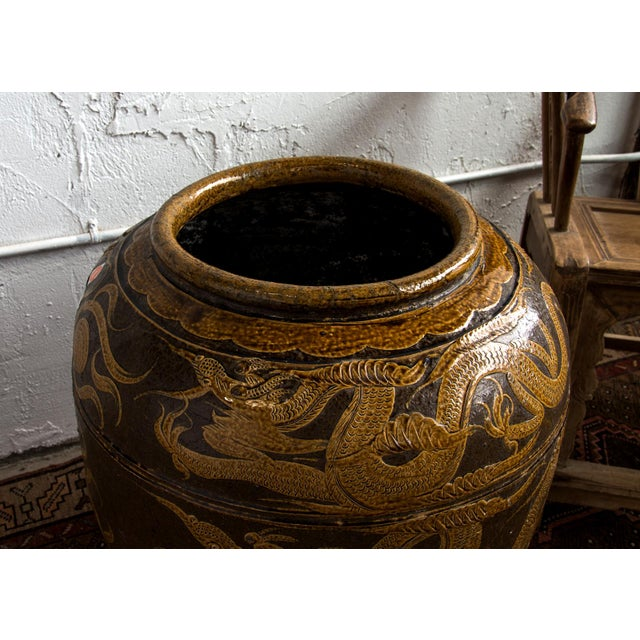 "Antique Chinese Ceramic ""Dragon"" Pot, originally used for pickling eggs, with raised gold glazed decoration of a dragon,..."