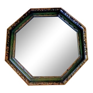 1970's Vintage Green & Gold Gilded Octogonal Mirror For Sale
