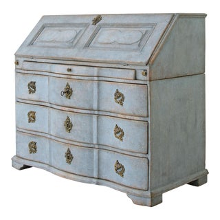18th Century Swedish Baroque Serpentine Bureau For Sale