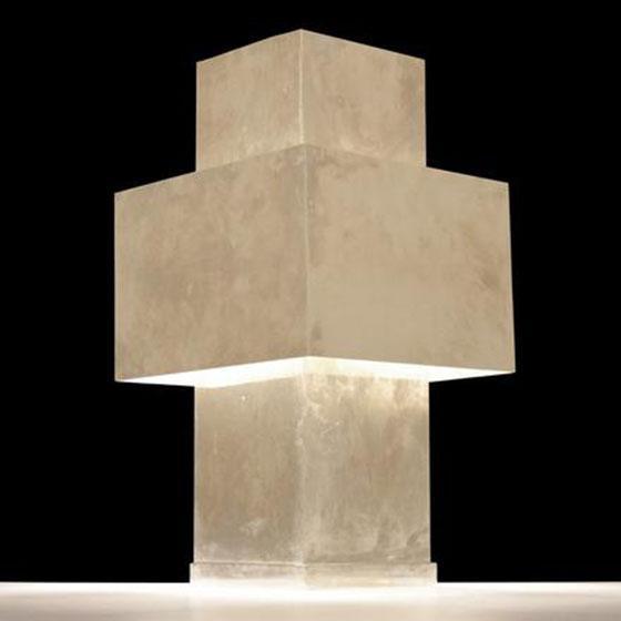 Beautiful geometric cross lamp designed in the manner of Lella & Massimo Vignelli.