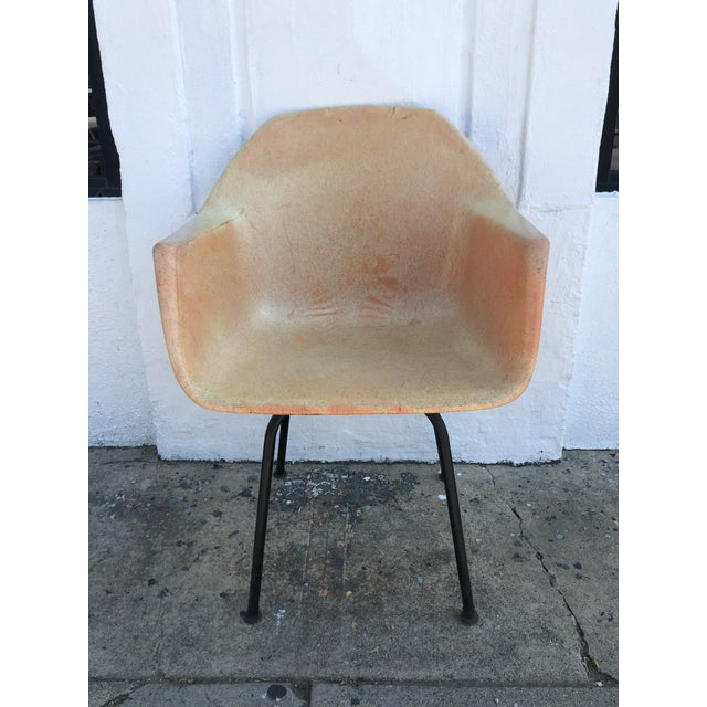 1960s Herman Miller Eames style shell chair. Molded fiberglass and steel. Some discoloration over time as seen in pictures.