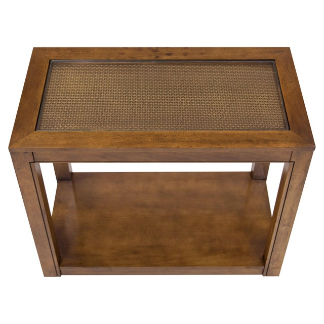 Mid-Century Modern Vintage Caned Top Parsons Console Table For Sale - Image 3 of 8