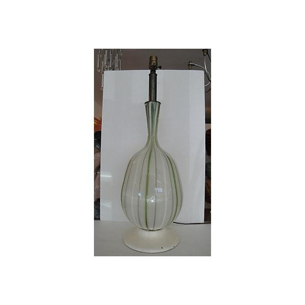 Large Glass Lamp with Green Stripes - Image 2 of 4