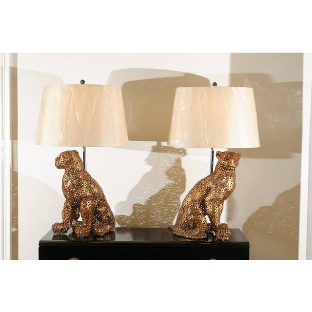 Gold Astonishing Pair of Welded Steel Panthers as Custom Lamps For Sale - Image 8 of 11