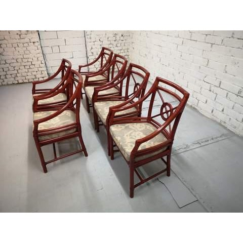 1970s Set of 6 Italian Mid Century Red Bamboo Chippendale Lounge Dining Chairs For Sale - Image 5 of 13