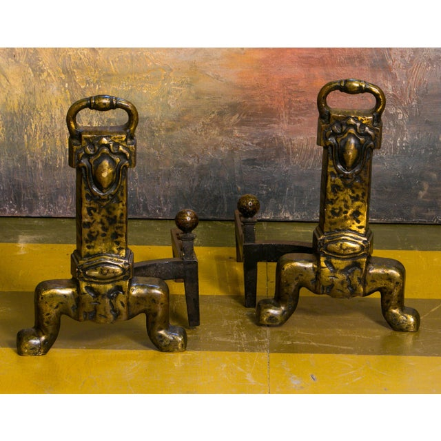 Pair Unusual Belgian Arts and Crafts-Style Bronze Andirons from Belgium, circa 1930 For Sale - Image 4 of 4