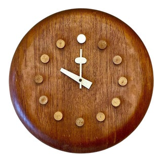 Mid-Century Modern Danish Wall Clock by Fritz Hansen, George Nelson, Teak, 1957 For Sale