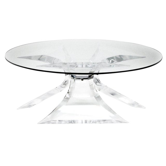1970s Hollywood Regency Frost Lucite Coffee Table With Chrome Center For Sale