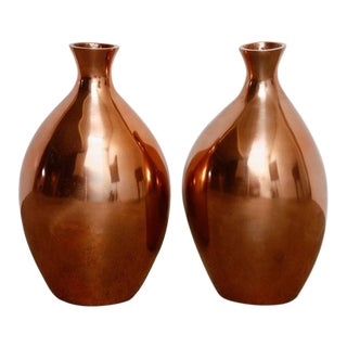 Gumps Asian Polished Copper Vases - A Pair