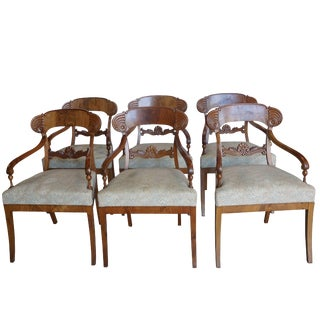 Early 19th Century Karl Johan Birch Armchairs - Set of 6 For Sale
