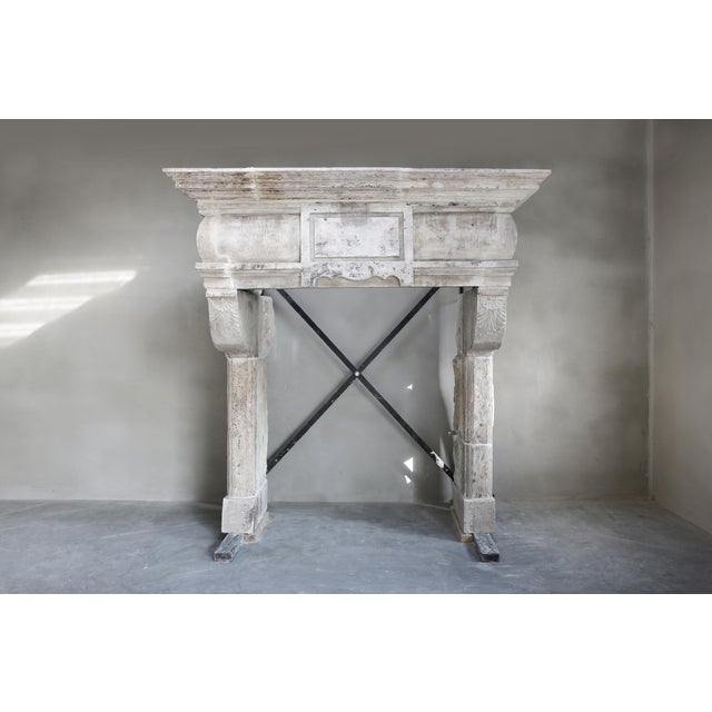 Antique Castle Fireplace of French Limestone, 18th Century, Louis XIII For Sale - Image 9 of 9