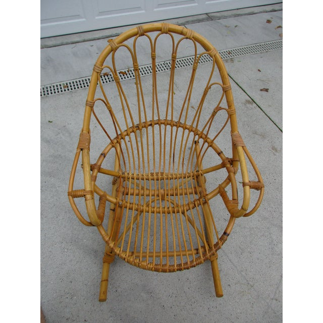 Bamboo and Wicker Rocking Chair - Image 3 of 8