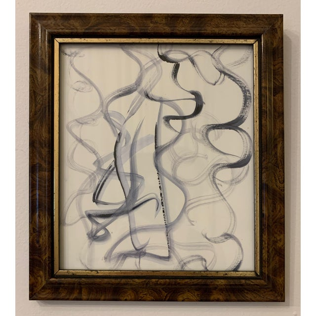 This beautiful abstract watercolor drawing on paper is framed in a vintage tortoise-colored frame with gold trim. 9 in....