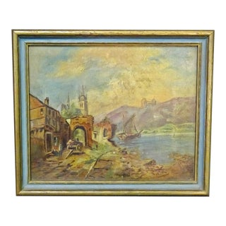 Antique 19th Century Oil Painting of a Rural Coastal Scene Gilt Frame For Sale