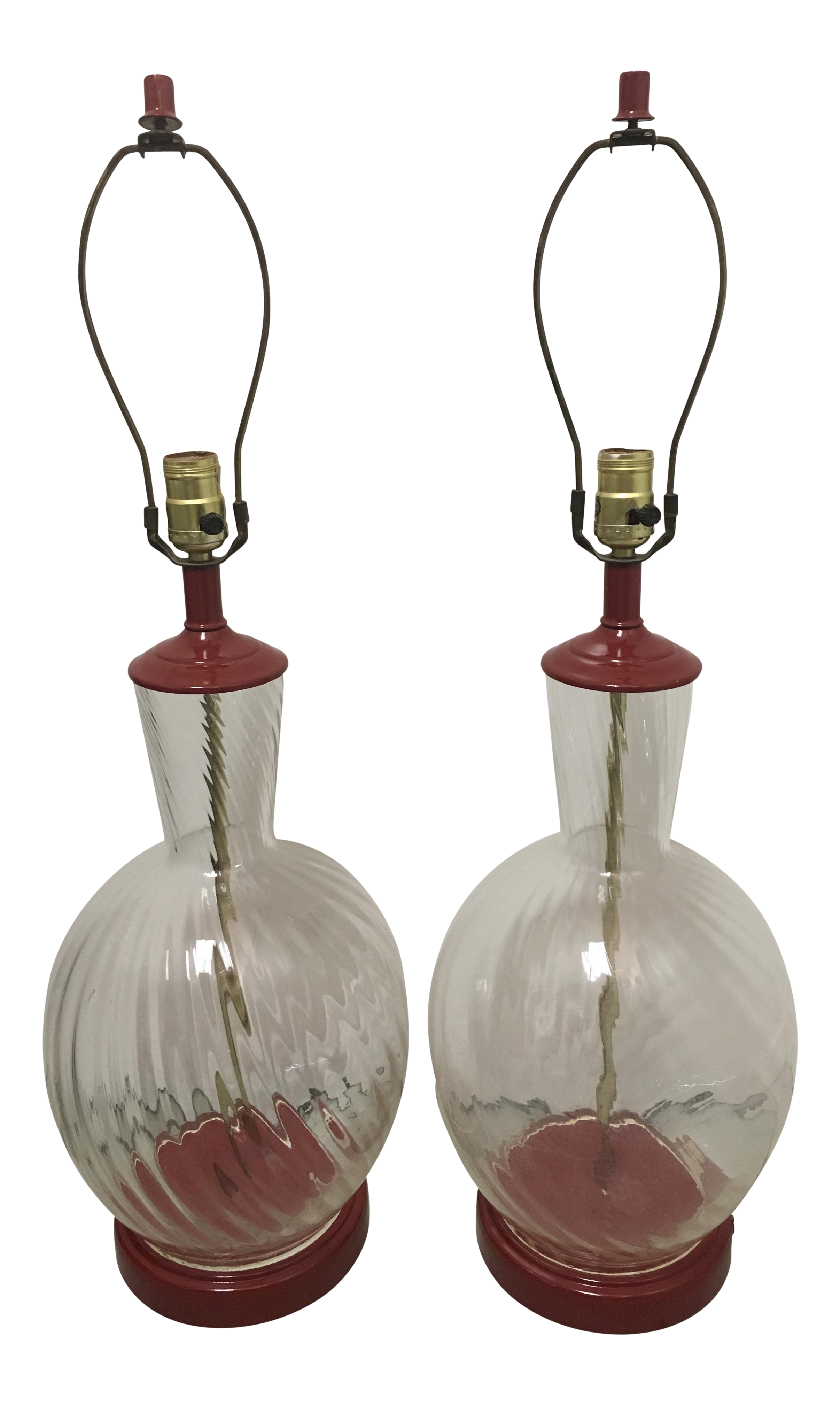 Mid Century Glass Table Lamps A Pair Chairish