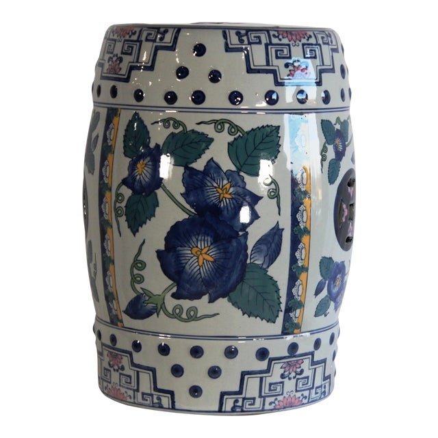 Modern Contemporary Blue & White Floral Porcelain Garden Stool For Sale