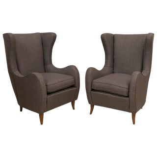 Pair of Upholstered Italian Lounge Chairs For Sale