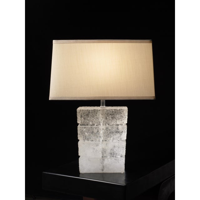 "Traxx Lamp Crystal Hand Carved SILK PONGEE SHADE: 8/15 x 9/16 x 9""Rectangle TOP AND BOTTOM TRIM INCLUSIONS VARIES Limited..."