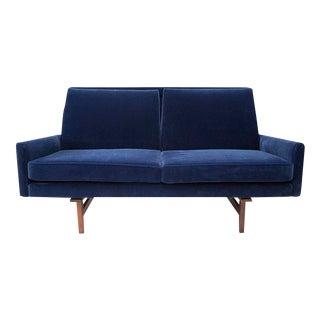 Jens Risom Restored Navy Velvet Sofa