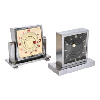 French Art Deco Clock Moon and Sun Manual Wind Eight-Day Clocks, Six Jewels