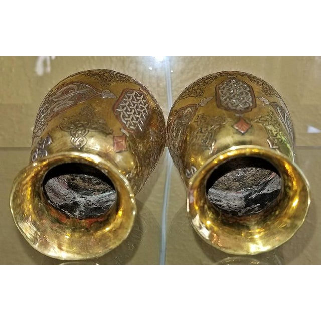 Pair of 18c Middle Eastern Damascene Vases For Sale In Dallas - Image 6 of 7