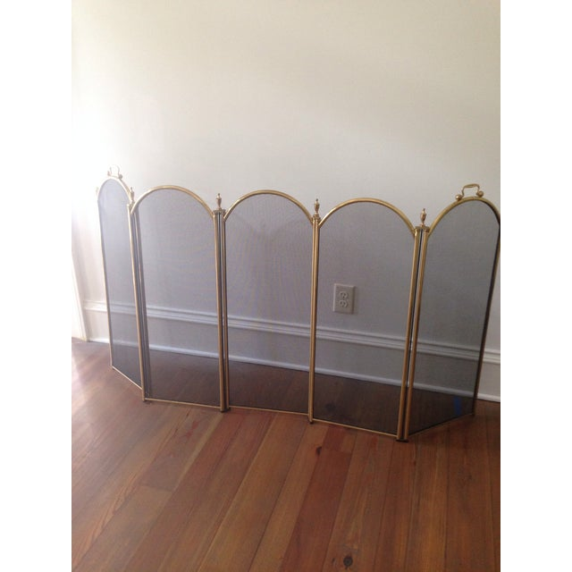 Vintage Five Panel Brass Fireplace Screen - Image 2 of 3