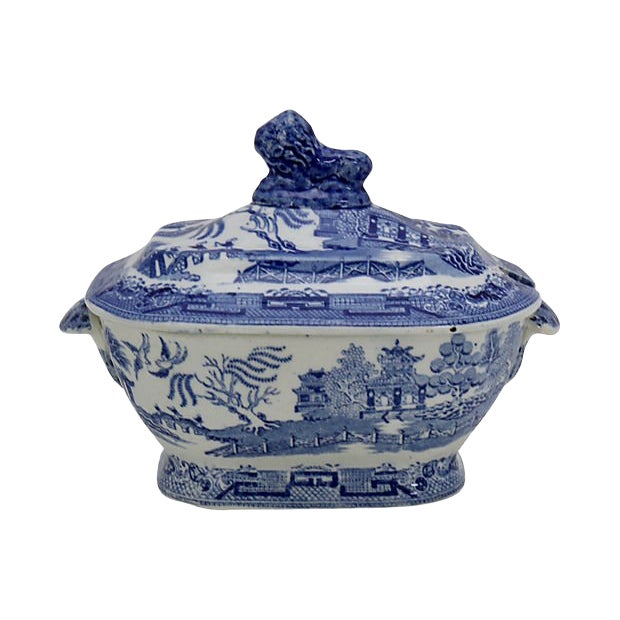 1840s English Willow & Lion Sauce Tureen For Sale