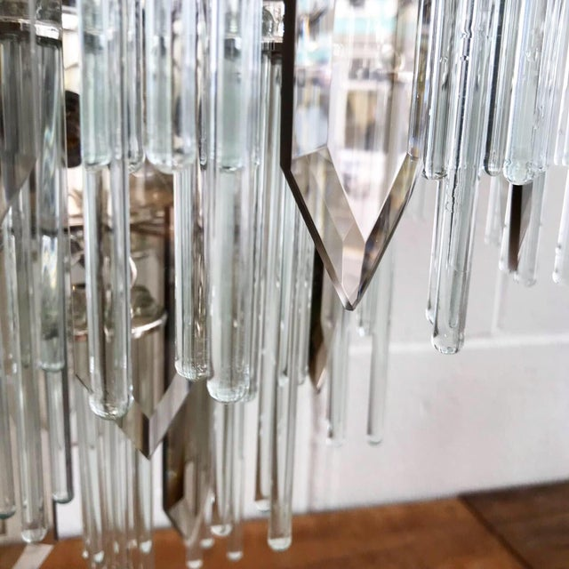 Silver Mid Century Modern Glass Chandelier For Sale - Image 8 of 11