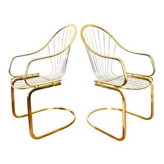 Italian Brass Cantilever Chairs - A Pair
